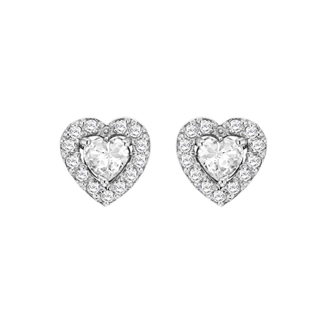 Silver Cubic Zirconia Heart Halo Stud Earrings