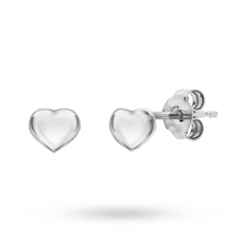 Rhodium Plated Heart Stud Earrings