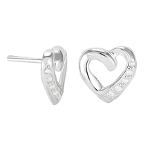 Sterling Silver Cubic Zirconia Pave Heart Earrings
