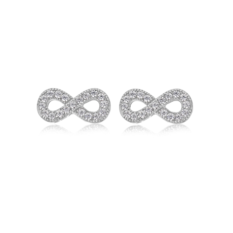 Silver Cubic Zirconia Infinity Stud Earrings