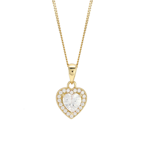 Yellow Gold Plated Cubic Zirconia Heart Pendant