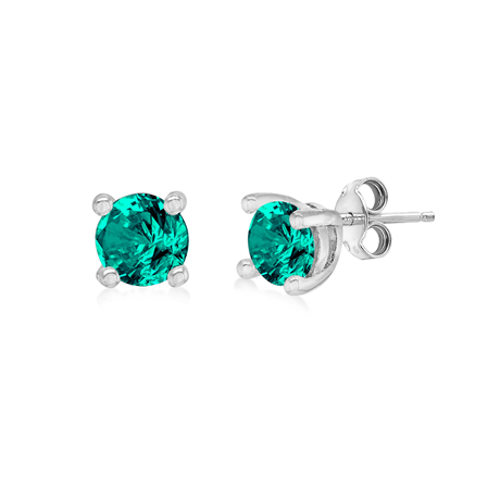 Silver June Turquoise Cubic Zirconia Stud Earrings