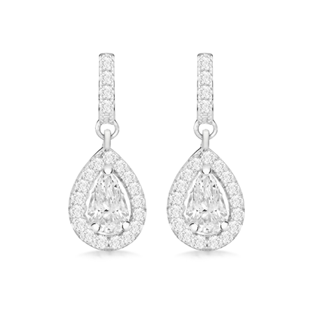 Silver Cubic Zirconia Halo Pear Drop Earrings