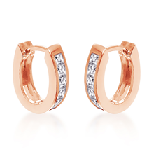For Her - Rose Gold Plated 11x11.9mm Leaver Huggie Earrings - 15160017