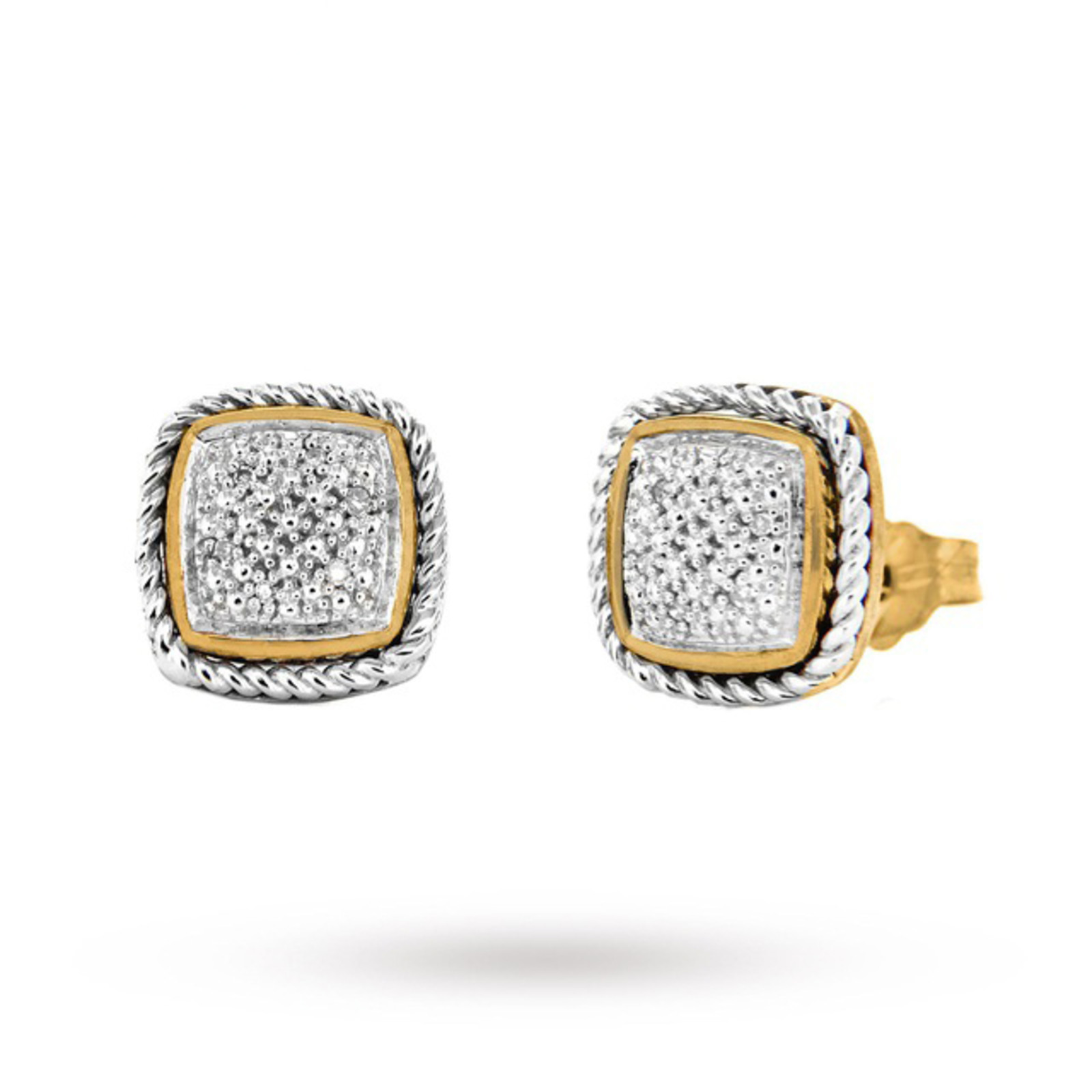 9 Carat 2 Colour Gold Pave Set Square Diamond Stud Earrings