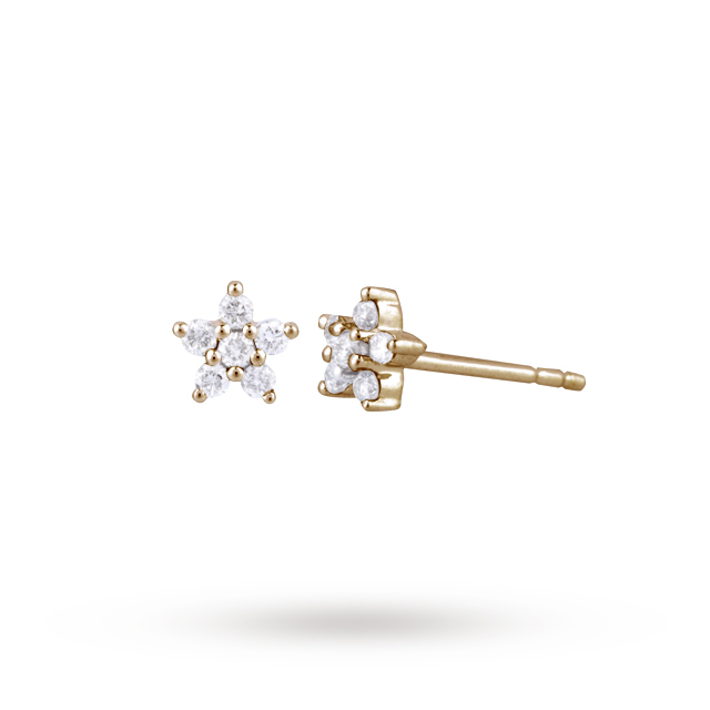 9ct Yellow Gold 0.16ct Diamond Small Flower Stud Earrings
