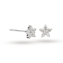 9ct White Gold 0.16ct Diamond Small Flower Stud Earrings