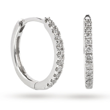 9ct White Gold 0.15ct Diamond Small Hoop
