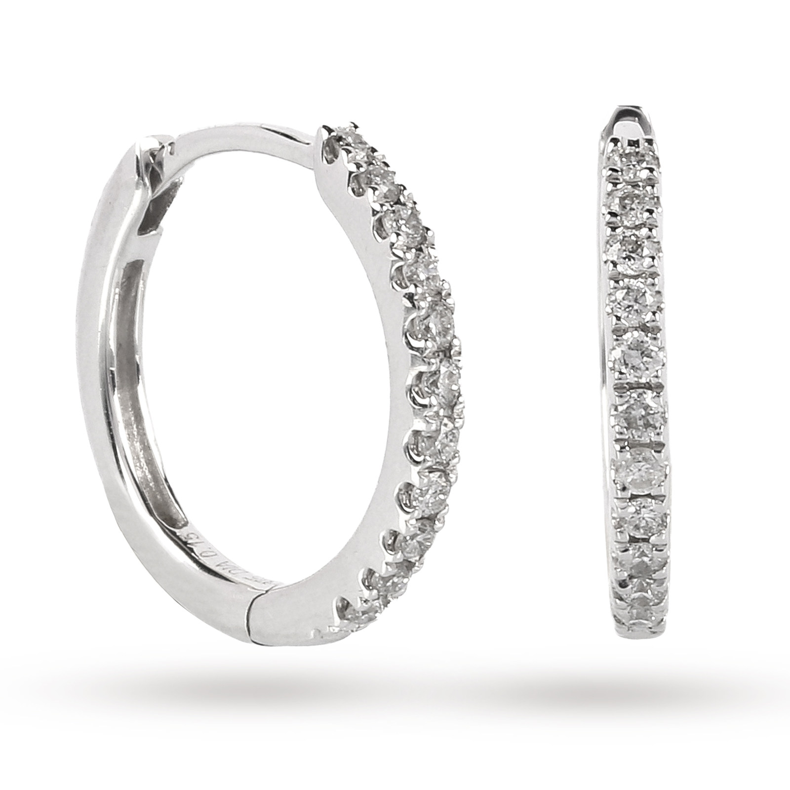 9ct White Gold 0 15ct Diamond Small Hoop