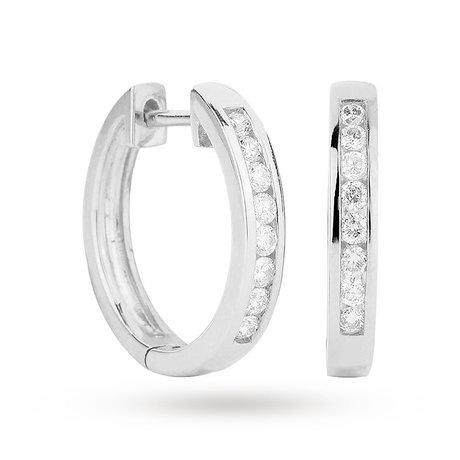 9ct White Gold 0.25ct Channel Set Hoop