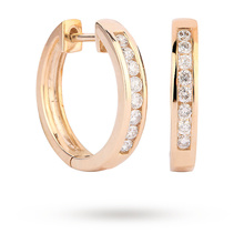 9ct Yellow Gold 0.25ct Channel Set Hoop
