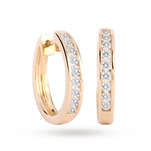 9ct Yellow Gold 0.50 Carat Total Weight Diamond Channel Set Hoops