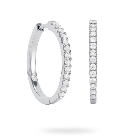 9ct White Gold 0.40ct Diamond Hoop Earrings