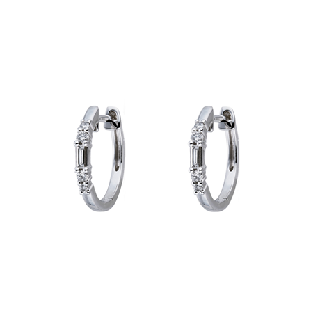 9ct White Gold 0.20cttw Mixed Cut Hoop Earrings