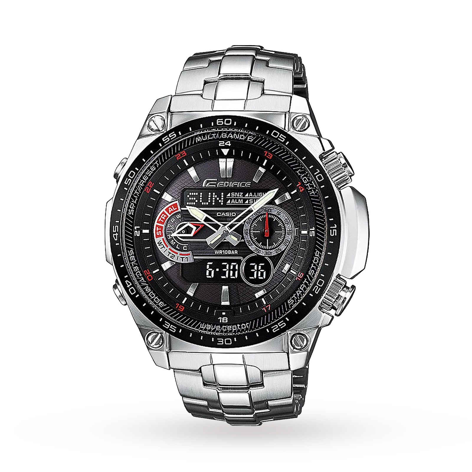 Casio Mens Edifice Waveceptor Alarm Chronograph Radio Con ...