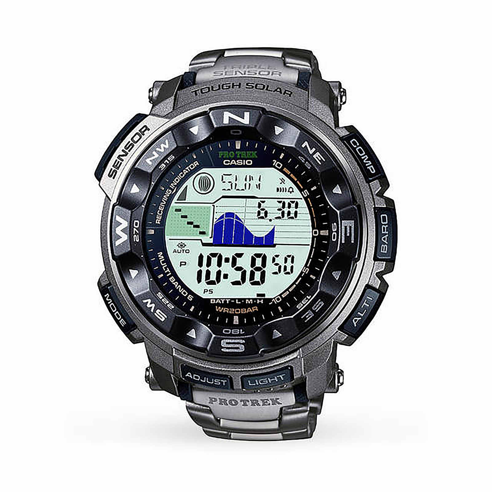 Casio Mens Pro Trek Titanium Alarm Chronograph Watch
