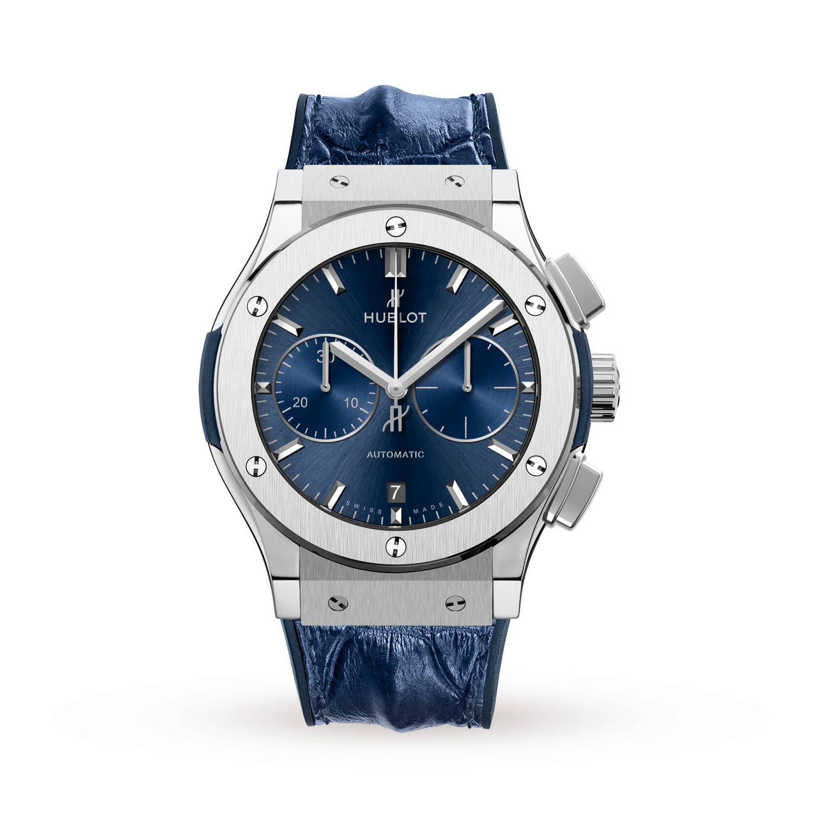 classic blue chronograph hublot watches p mens automatic fusion titanium watch
