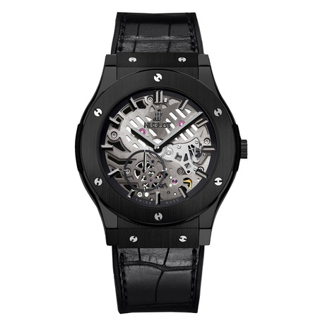 Hublot Classic Fusion Ultra Thin Skeleton All Black Mens 45mm Automatic Watch