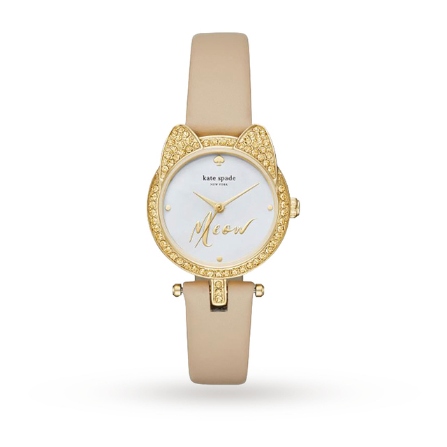 Kate Spade New York Ladies Novelty Light Brown Leather Strap Watch KSW1151