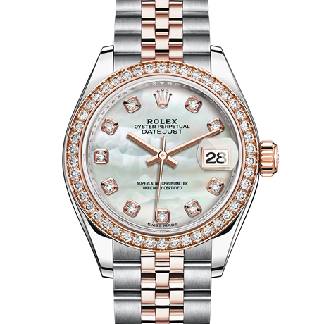 Rolex Lady-Datejust Oyster, 28 mm, Oystersteel, Everose gold and diamonds M279381RBR-0013