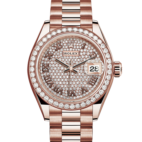 Rolex Lady-Datejust Oyster, 28 mm, Everose gold and diamonds M279135RBR-0021