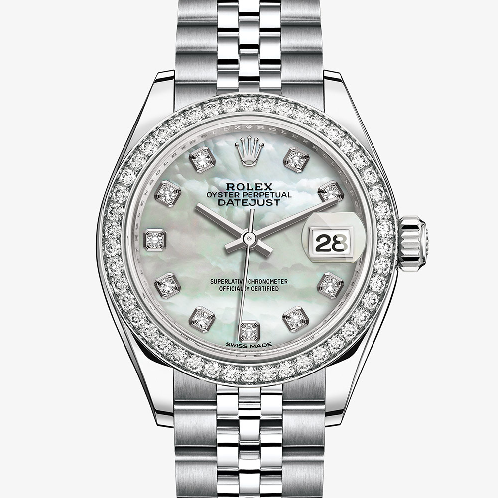Rolex Lady,Datejust Oyster, 28 mm, Oystersteel, white gold and diamonds  M279384RBR,0011