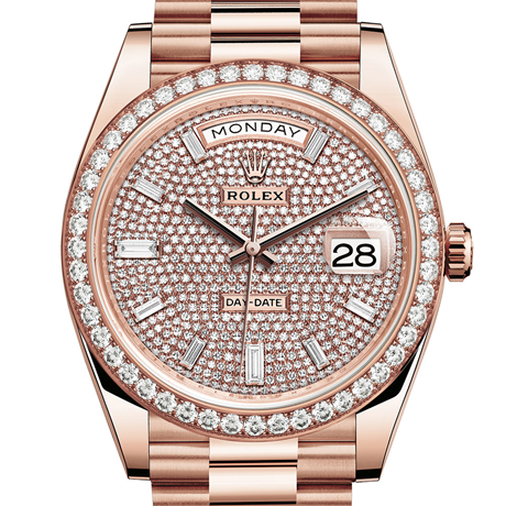 Rolex Day-Date 40 Oyster, 40 mm, Everose gold and diamonds M228345RBR-0002