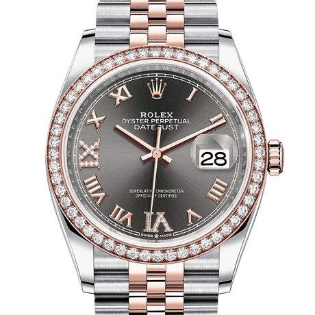 Rolex Datejust 36 Oyster, 36 mm, Oystersteel, Everose gold and diamonds M126281RBR-0011