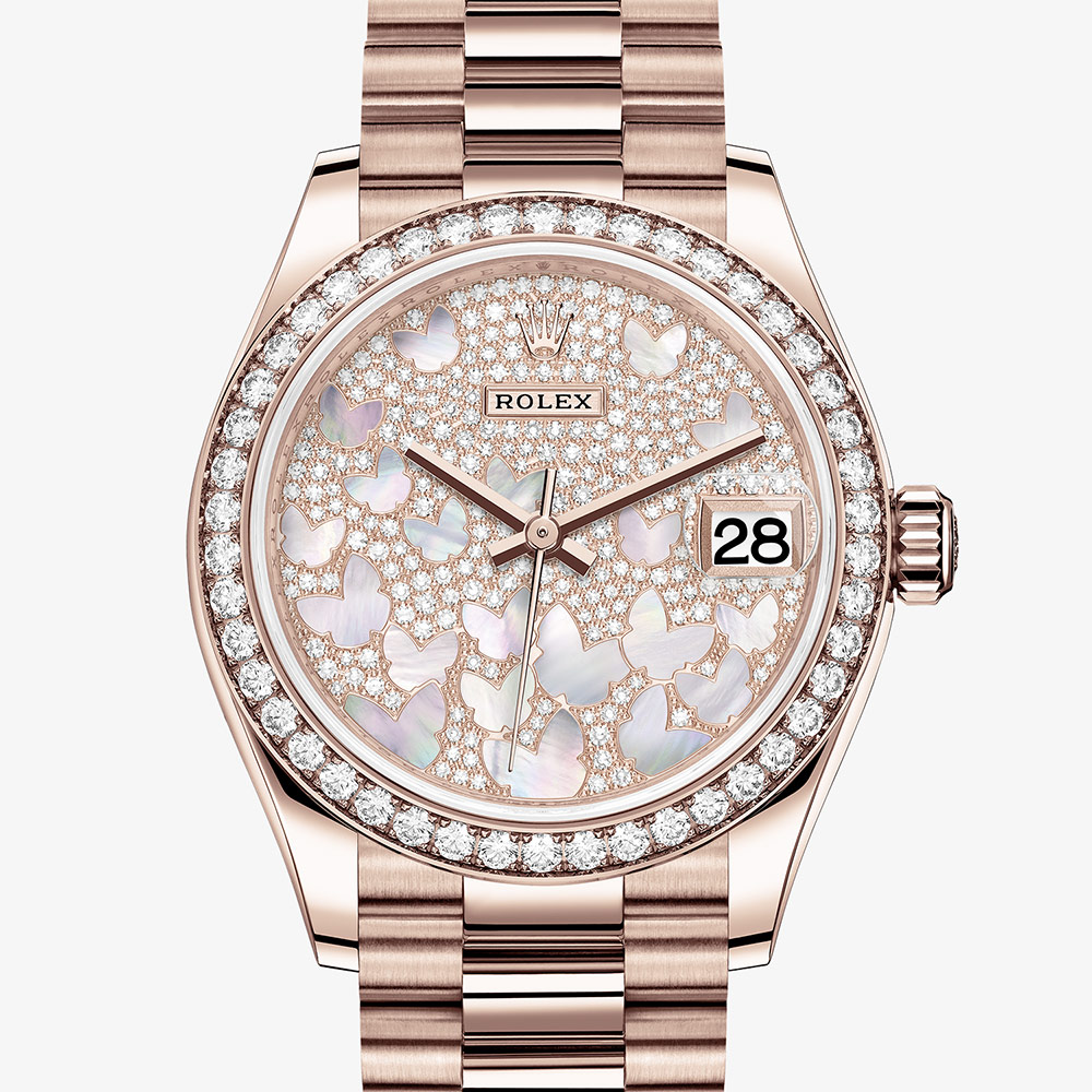 Rolex Datejust 31 Oyster, 31 mm, Everose gold and diamonds M278285RBR,0010
