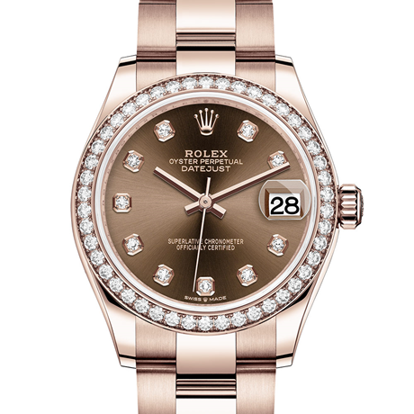 Rolex Datejust 31 Oyster, 31 mm, Everose gold and diamonds M278285RBR-0012