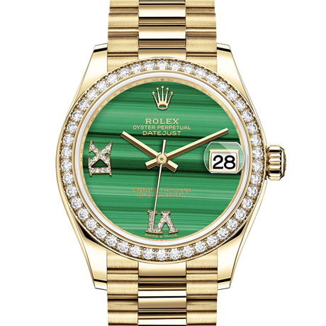 Rolex Datejust 31 Oyster, 31 mm, yellow gold and diamonds M278288RBR-0004