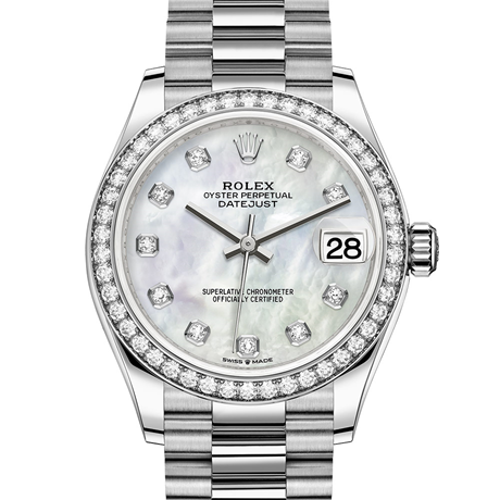 Rolex Datejust 31 Oyster, 31 mm, white gold and diamonds M278289RBR-0005