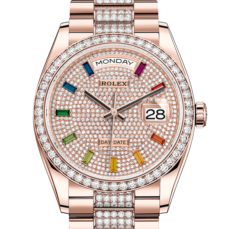 Rolex Day-Date 36 Oyster, 36 mm, Everose gold and diamonds M128345RBR-0043