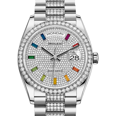 Rolex Day-Date Oyster, 36 mm, white gold and diamonds M128349RBR-0012