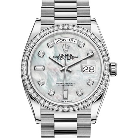 Rolex Day-Date Oyster, 36 mm, white gold and diamonds M128349RBR-0004