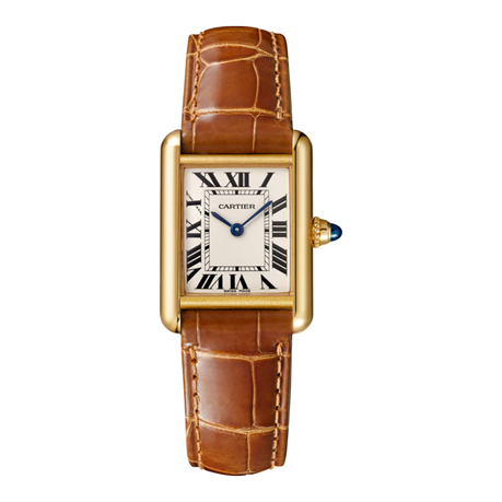 Tank Louis Cartier watch, Small model, 18K yellow gold, leather, sapphire
