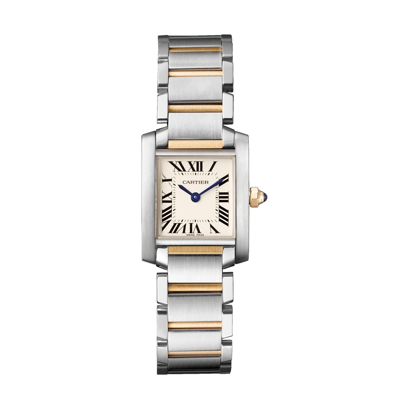 Cartier Tank Française watch, Small model, 18K yellow gold, steel