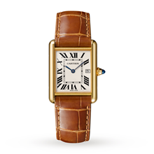 Tank Louis Cartier watch, Large model, 18K yellow gold, leather, sapphire