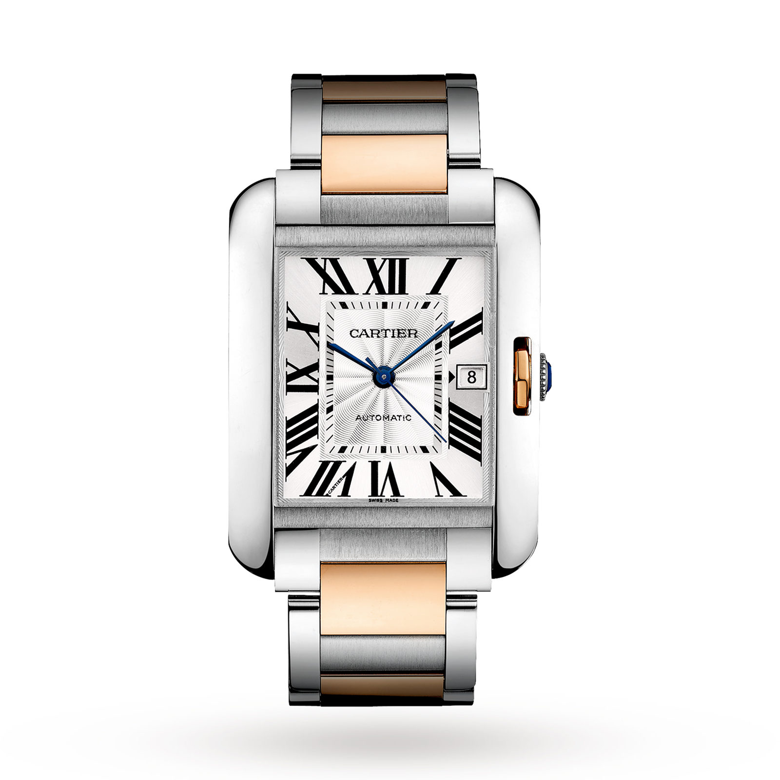 Cartier Tank Anglaise watch, XL model, 18K rose gold, steel