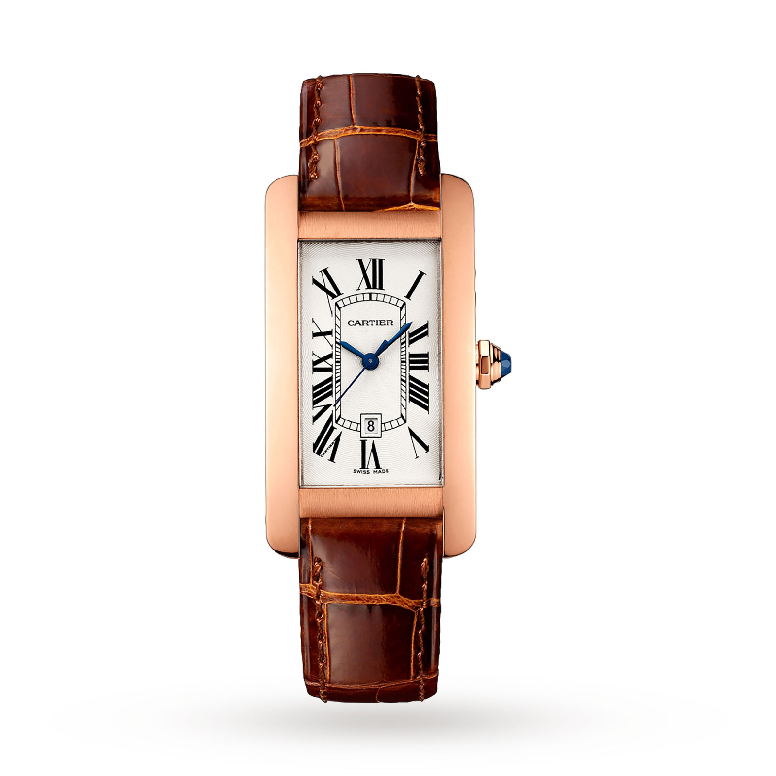 Cartier Tank Américaine watch, Medium model, 18K rose gold, leather