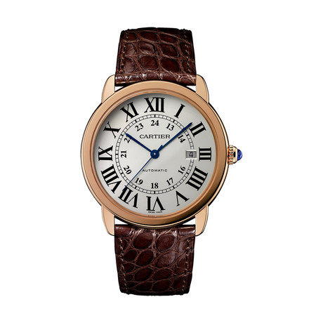 Ronde Solo de Cartier watch, 42 mm, 18K rose gold, steel, leather
