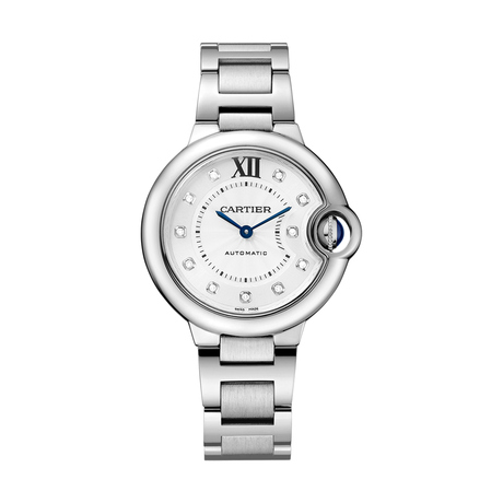 Ballon Bleu de Cartier watch, 33 mm, steel, diamonds