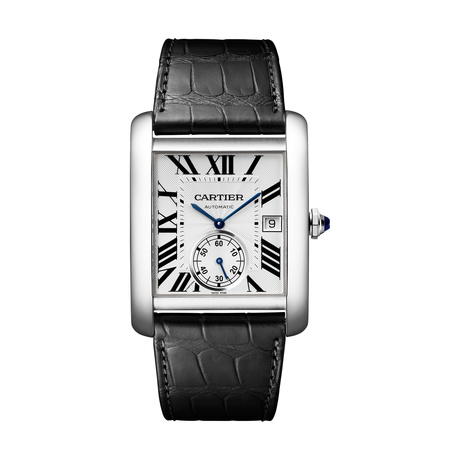 Cartier Tank MC watch, Large model, steel, leather