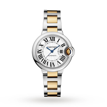 Ballon Bleu de Cartier watch, 33 mm, 18K yellow gold, steel