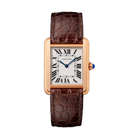 Cartier Tank Solo watch, Small model, 18K rose gold, steel, leather