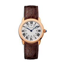 Ronde Solo de Cartier watch, 29 mm, 18K pink gold, steel, leather