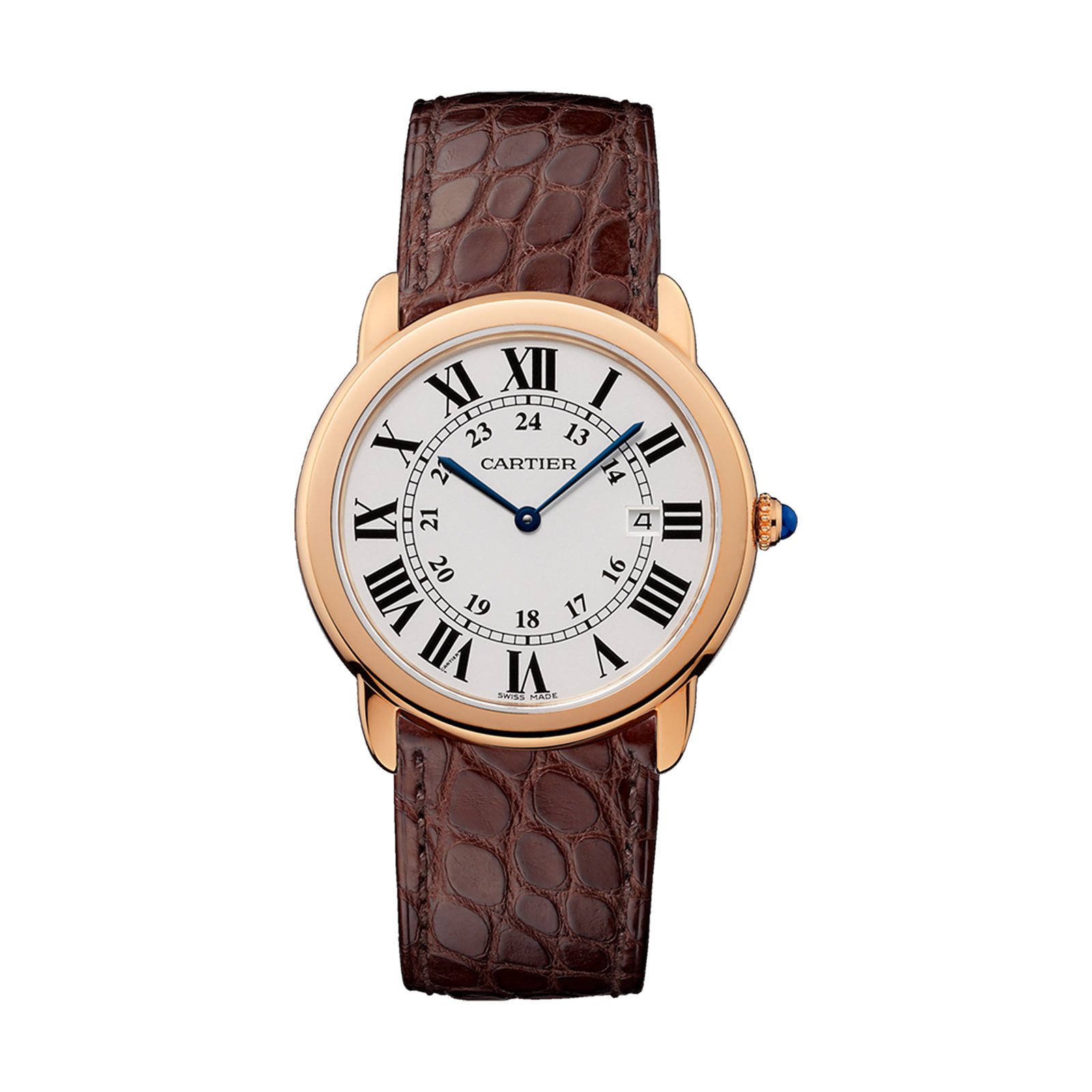 Ronde Solo de Cartier watch, 36 mm, 18K rose gold, steel, leather