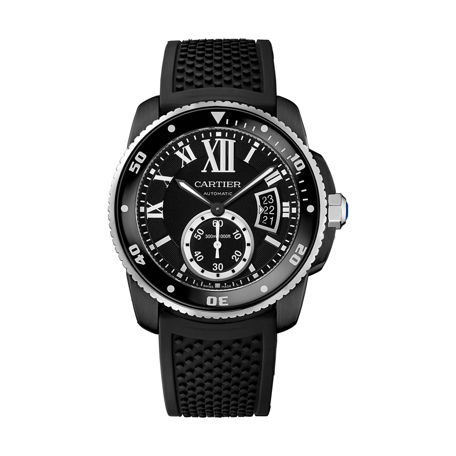 Calibre de Cartier Carbon Diver watch, 42 mm, steel, ADLC, rubber
