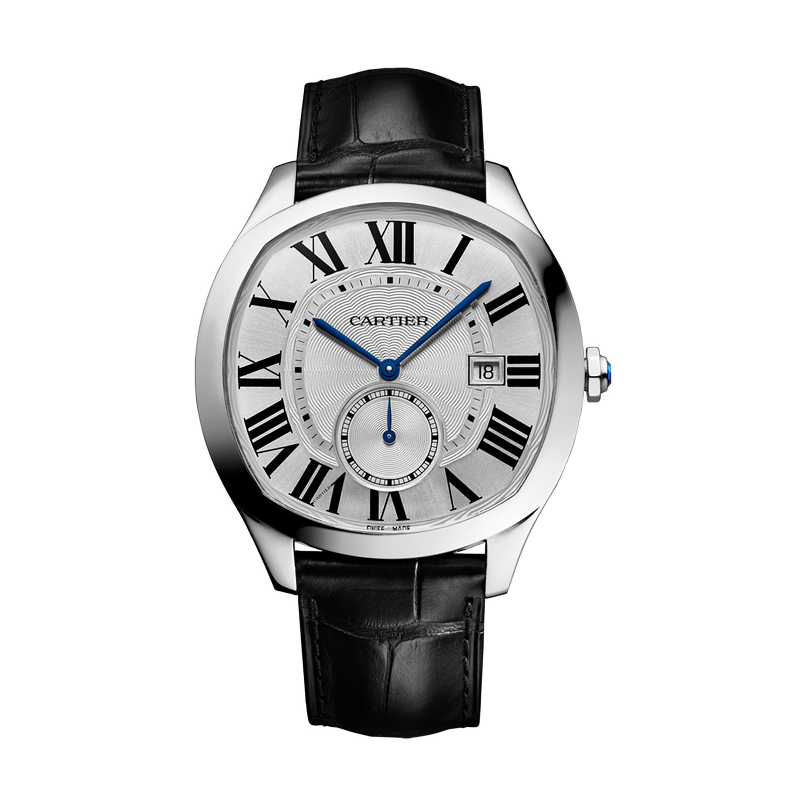 Drive de Cartier watch, Steel, leather