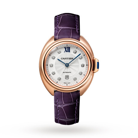 Clé de Cartier watch, 31 mm, rose gold, leather, diamonds